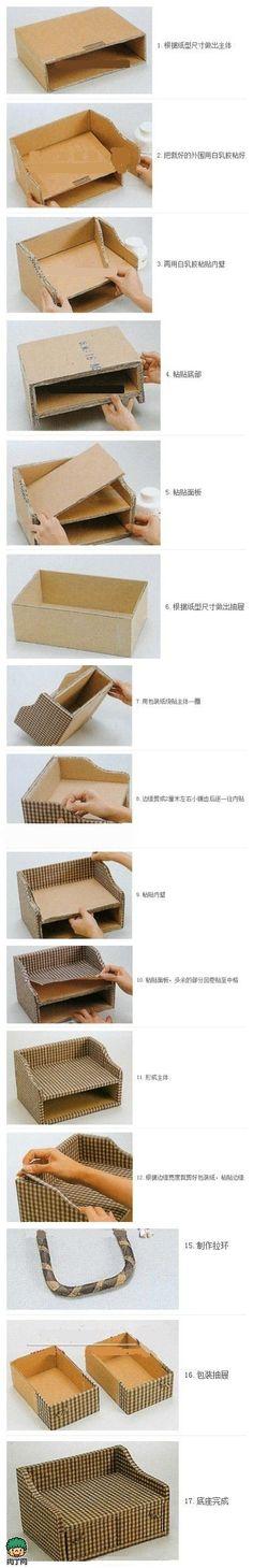 DIY storage box. old cardboard + cloth