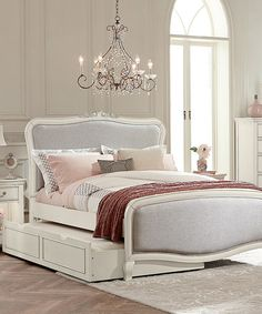 Another great find on #zulily! White Kensington Katherine Upholstered Full Panel Bed & Trundle #zulilyfinds