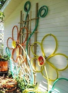 Recycled garden hose....painted