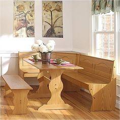 MER-991 Linon Chelsea Breakfast Corner Nook Table Set
