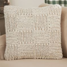 Cozy Knit Throw Pillow A bulky knit makes this wool pillow perfect for adding a cozy dash of comfort to your living room or bedroom. Knitted Cushions, Wool Pillows, Knitted Throws, Throw Pillows, Crochet Pillow Pattern, Knit Pillow, Knitting Patterns, Crochet Patterns, Perfect Pillow