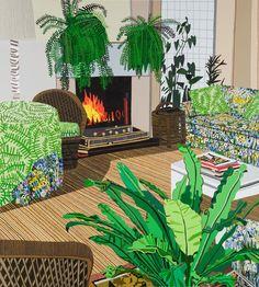 Jonas Wood, Interior with Fireplace, 2012.