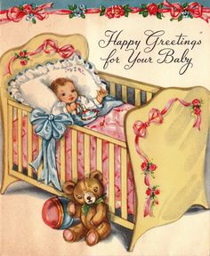 Vintage 1940s Happy Greetings For Your Baby