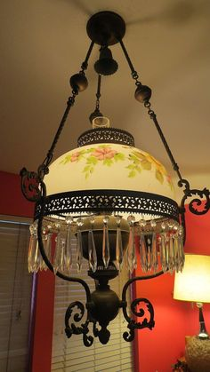 Antique Victorian Chandelier Oil Parlor Hanging Lamp Crystals ...