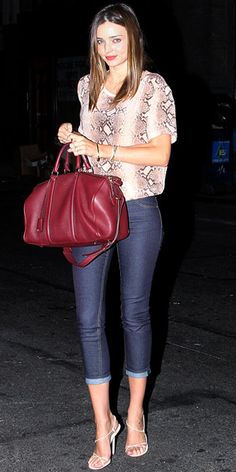 Miranda Kerr in printed blouse and cropped jeans leaving a restaurant in NYC
