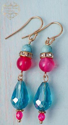 MOROCCO NIGHT Hot Pink / Turquoise Earrings #VintageRoseGallery,#etsy - Boho Earrings - Boho Chic Earrings  Golden plated hooks , by VintageRoseGallery