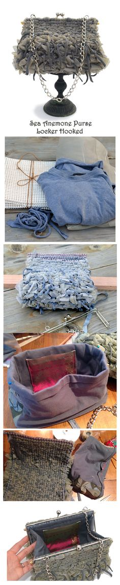 Sea Anemone with Tentacles - The making of a locker hooked purse out of and old t-shirt and fabric sheer strips. Hooked on 3.3 mesh canvas.