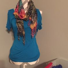 New York & Company Blue Key-Hole Sleeved Top. New York & Company Blue Key-Hole Sleeved Top. Scarf not included. Size small. New York & Company Tops