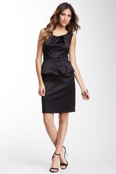 Mesh Trim Sleeveless Peplum Dress