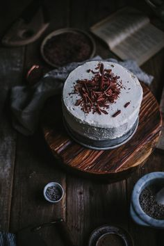 Dark chocolate cake with lavender ganache and vanilla buttercream