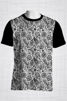 Plus Size Men's Clothing Black sleeve paisley print