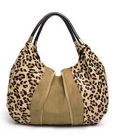 Tan Leopard Freda Leather Hobo