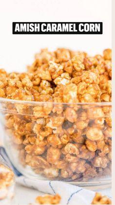 Caramel Corn Recipes, Popcorn Recipes, Candy Recipes, Snack Recipes, Dessert Recipes, Fall Recipes, Healthy Recipes, Amish Recipes, Sweet Recipes