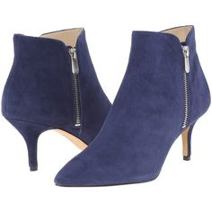 Adrienne Vittadini Senji Women's Shoes, Navy ($91) ❤ liked on Polyvore featuring shoes, boots, ankle booties, ankle boots, navy, navy ankle boots, slip on ankle boots, pointed toe ankle boots, pull on boots and navy blue booties