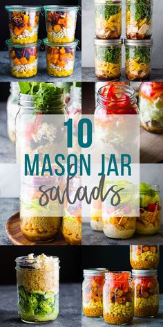 These 10 healthy mason jar salad recipes can be prepped ahead and stored in the fridge for meal prep lunches! Layering your salad in jars helps them to last for longer. #sweetpeasandsaffron #masonjarsalads #salads #lunch #healthylunch #roundup Best Lunch Recipes, Salad Recipes, Amazing Recipes, Lunch Meal Prep, Meal Prep Bowls, Mason Jar Lunch, Mason Jars, My Favorite Food, Favorite Recipes