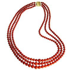 Coral Bead and Gold Necklace | From a unique collection of vintage beaded necklaces at https://www.1stdibs.com/jewelry/necklaces/beaded-necklaces/