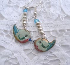 Birdie earrings Peter and Paul bluebird  by LiloLilsEmporium