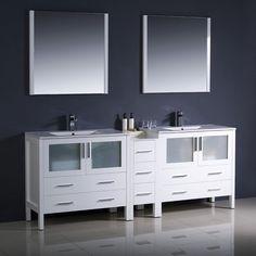 "Fresca Torino 84"" White Modern Double Sink Bathroom Vanity w/ Side Cabinet & Integrated Sinks"