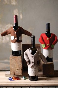 Felt Wine Bottle Sweaters - Set of 3