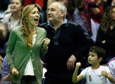 Jelena supporting Nole during his difficult match in Davis Cup. She's his best support and fan