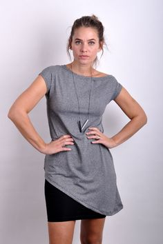 AskewiX top light grey melange | Trika | Ženy | SCURA E-shop Dresses For Work, Grey, Casual, Outfits, Shopping, Tops, Fashion, Gray, Moda