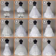 Novo 12 estilos Casamento/aros/hoopless anágua boletos anágua a crinolina
