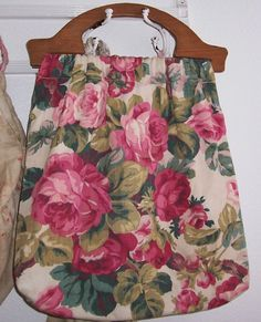Large VINTAGE Barkcloth Era Pink ROSES Fabric by vintageflowers.Via etsy.