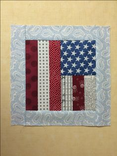 This scrappy flag quilt block is a great way to use your scraps for some patriotic flair on Flag Day!