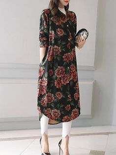 Vintage Printed Lapel Button Fly Long Blouse For Women can cover your body well, make you more sexy, Newchic offer cheap plus size fashion tops for women. Hijab Fashion Summer, Pakistani Fashion Casual, Muslim Fashion, Kurta Designs Women, Blouse Designs, Indian Designer Outfits, Designer Dresses, Women's Fashion Dresses, Casual Dresses