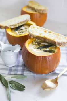 Joining Real Food forces with @tillamook  for #RealFoodSunday to make Creamy Pumpkin Soup. Serve it in roasted pumpkin bowls and top it with fried sage and a crispy cheesy dippers, melted with Tillamook Sharp White Cheddar!