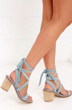 8c7cc779d32f Chinese Laundry Calvary Powder Blue Suede Lace-Up Sandals