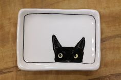 Hand made & animal painted  Versatile dish - Soap Dish - Jewelry Dish - Ceramic Dish - Black Cat Dish