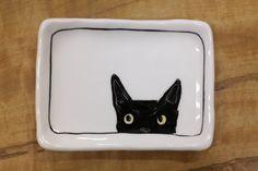 Hand made & animal painted  Versatile dish - Soap Dish - Jewelry Dish - Ceramic Dish - Black Cat Dish                                                                                                                                                                                 Más