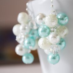 Tiffany Blue White Pearl Crystal Cluster by DaisyBeadzJoaillerie, $10.00