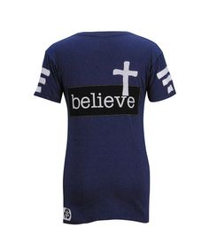 Believe With White Cross Destroyed Purple Short Sleeve Fitted V-Neck T Shirt