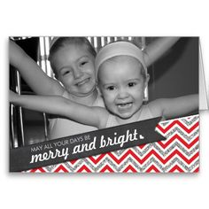 pERSONALIZED PHOTO HOLIDAY CARD chevron patterned glitter merry and bright in red and silver...  Have yourself a trendy little christmas this year with these DIY templates available for purchase