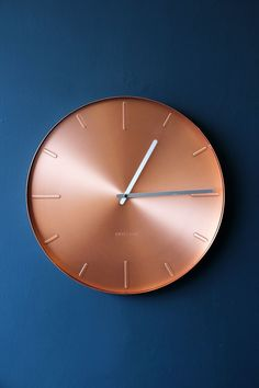 Round Copper Wall Clock Love navy and copper - this clock is stunning.