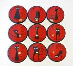 *~* CURRENT SHIPPING TIMES *~* WALLPAPER: 1-2 Weeks DRAWER PULLS: 1-2 Weeks ~*~*~*~*~*~*~*~*~*~*~*~*~**~*~*~*~*~  Red and Black Cats with