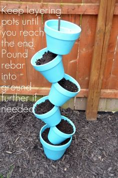 DIY Garden Planter & Birds Bath - Home Stories A to Z thread pots on rebar fill and plant top last pot with birdbath