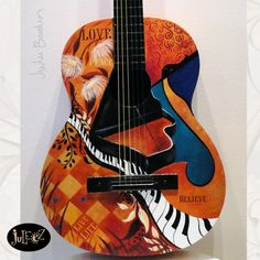 Juleez Painted Fender Acoustic Guitar Art by Julie Borden Life Words