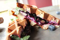Blueberry, Basil and Brie Waffle Sandwich  http://sweetstacks.com/recipe/blueberry-basil-brie-waffle-sandwich/