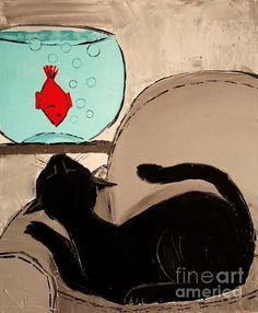 Black Cat With Goldfish by Atelier De Jiel - Black Cat With Goldfish Painting - Black Cat With Goldfish Fine Art Prints and Posters for Sale