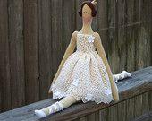 Fabric doll white ballerina doll princess cloth doll cute stuffed doll art doll brunette softie plush doll  - gift for girls