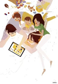 Family Digital Reading / Lectura familiar y digital (Pascal Campion) Art And Illustration, Pascal Campion, We Are The World, Fantasy Art, Art Drawings, Character Design, Creations, Sketches, Cartoon