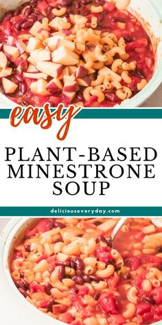 Whip up this Plant-Based Minestrone Soup for dinner tonight. Just follow along with this healthy and vegetable-loaded classic minestrone soup recipe. This recipe combines kidney beans, fire-roasted tomatoes, broth, pasta, and more all in one dinner. Easy Vegan Dinner, Vegan Dinner Recipes, Vegan Dinners, Vegetarian Soup, Vegan Soup, Classic Minestrone Soup Recipe, Greek Recipes, Soup Recipes, Pasta Soup