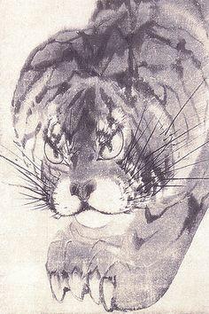 Detail. Nagasawa Rosetsu Tiger fusuma. 長沢芦雪 虎図襖