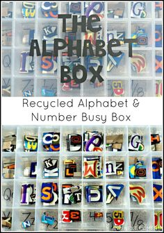Make an alphabet & number busy box for toddlers and preschoolers using recycling from And Next Comes L