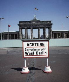 Berlin Wall at the Brandenburg Gate (view from West to East Berlin 1970s