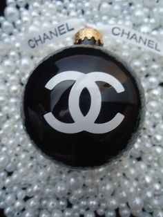 Chanel Black Shiny Glass Christmas Tree Ornament Fashion by mybabycoco
