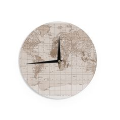 Keep track of time with this unique 'Emerald World' wall clock. Made of smooth compressed wood, this clock measures 12 inches across and comes with already installed hardware. Insert a single AA batte